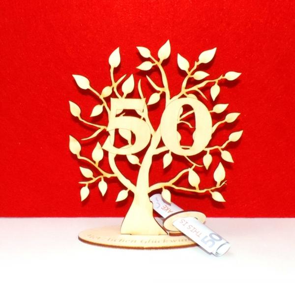 Geldgeschenk Geldscheinhalter Baum 50 Geburtstag 16cm Herzlichen
