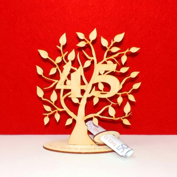 Geldgeschenk Geldscheinhalter Baum 45 Geburtstag 16cm Herzlichen