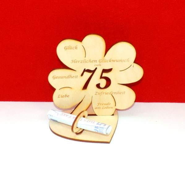 Kleeblatt Zum 75 Geburtstag Oder Hochzeitstag Mit Gluckwunschen Und