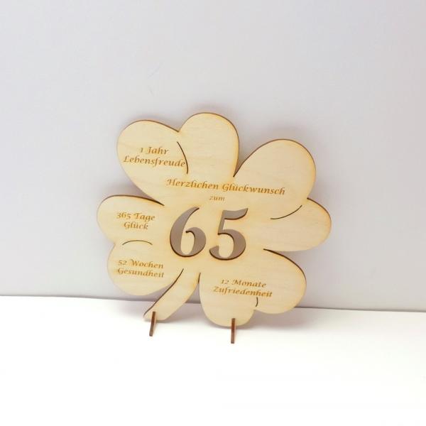 gl cksbringer kleeblatt mit gravur und gl ckw nschen zum 65 geburtstag oder jubil um. Black Bedroom Furniture Sets. Home Design Ideas