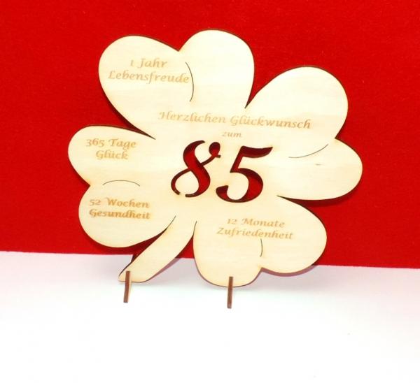Gl cksbringer kleeblatt mit gravur und gl ckw nschen zum for Geschenke zum 85 geburtstag