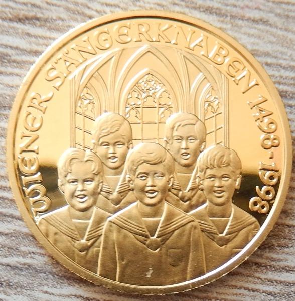 Goldmünze Wiener Sängerknaben 500 Schilling österreich 1998